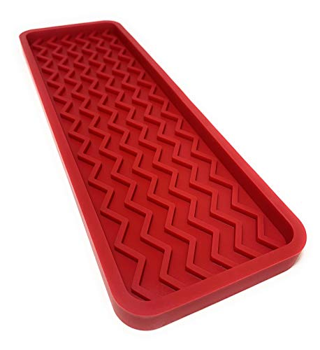 Silicone Kitchen Sink Organizer Tray, 12 inches x 4 inches, 9.2 ounces (RED) (Red Tray)