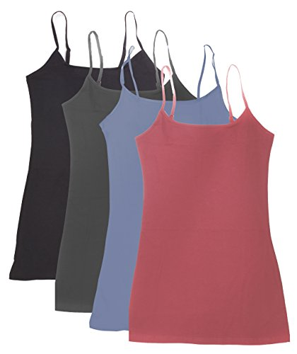 4 Pack Active Basic Women's Basic Tank Top (S-Dst Rs/Dnm Blu/Chcl/Bk)