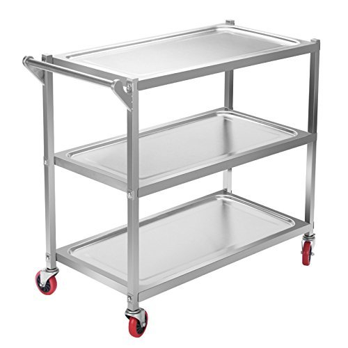 Happybuy Utility Cart 3 Shelf Utility Cart on Wheels 330Lbs Stainless Steel Cart Commercial Bus Cart Kitchen Food Catering Rolling Dolly (3 shelf with handle) (Steel Shelf Stainless 2 Cart)