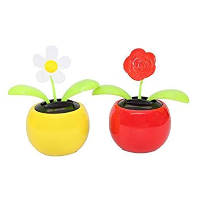 Set of 2 Dancing Flowers Solar Toys Car Dashboard Office Desk Home Decor Idea for Valentines: Toys & Games