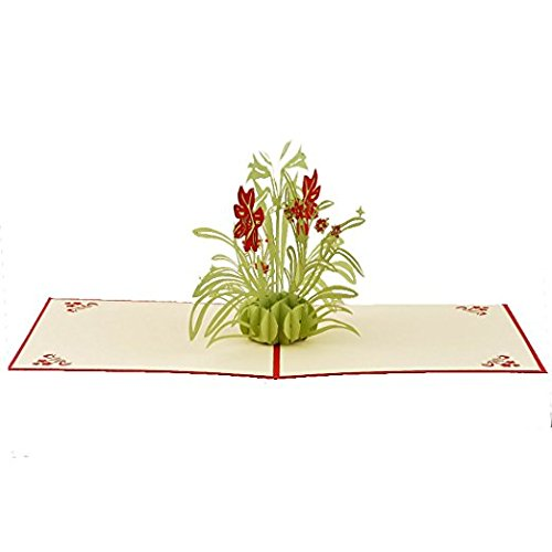 - Wetietir 3D Pop Up Orchid Patterns Greeting Paper Card Handmade Craft Paper Cutting Card