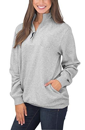 BJGXFMQ Women's Long Sleeve Oversized 1/4 Zip Pullover Sweatshirt Top Pockets Outwear Grey M