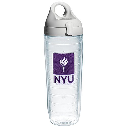 Tervis 1073642 New York University Emblem Individual Water Bottle With Gray Lid  24 Oz  Clear