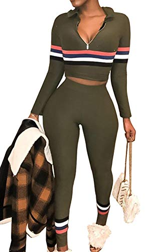 (Womens 2 Pieces Sportwear Set Long Sleeve Hoodies Crop Tops+Colorblock Stripe Skinny Pants Tracksuit Set)
