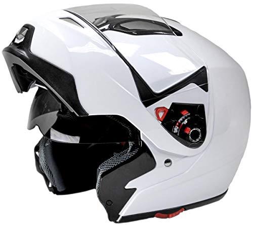 Typhoon Modular Motorcycle Helmet DOT Dual Visor Full Face Flip-up - White Medium ()