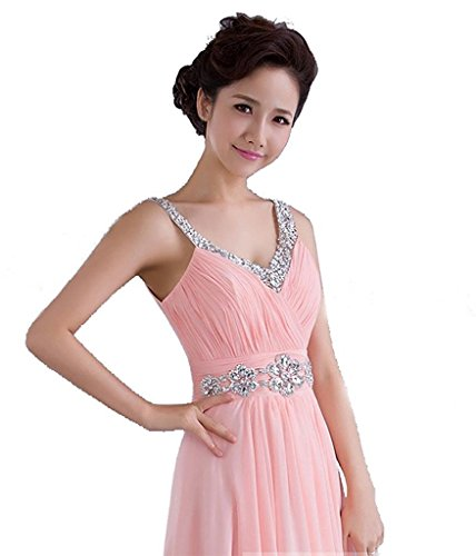 Kleid Kmformals lange Brautjungfer V Chiffon Rosa Kleider Ausschnitt Prom Damen Spalte rwgqIxr0