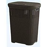 50L Multi-Purpose Laundry Basket with Cover (Brown)
