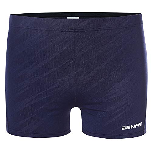 BanFei Men's Compression Quick Dry Rapid Splice Swim Jammer Short Square Leg Swimsuit Blue Stripe Large