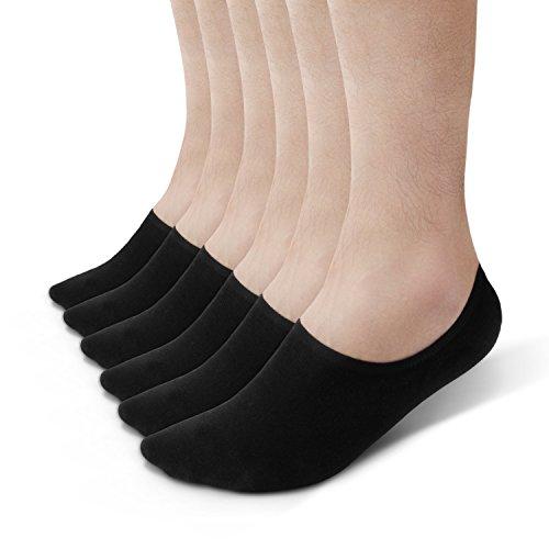 David Archy Mens 6 Pack Cotton Ultra Soft Black No Show Socks Low Cut Style Heel Grip Non Slip