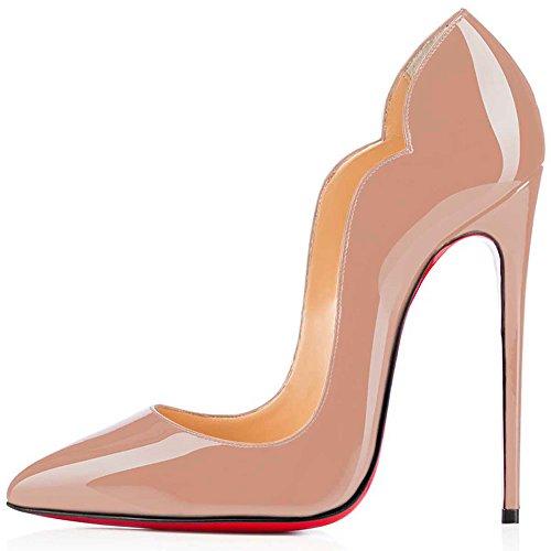 SHOFOO - Femmes - Stiletto - Plusieurs coloris- Cuir brillant synthétique - Talon aiguille - Bout pointu fermé (40Amazon, Beige)