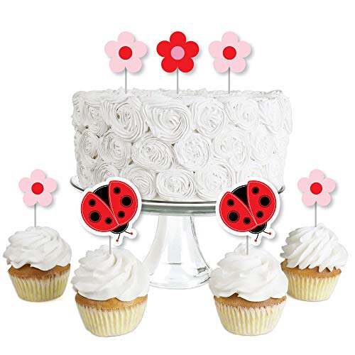 Modern Ladybug - Dessert Cupcake Toppers - Baby Shower or Birthday Party Clear Treat Picks - Set of 24