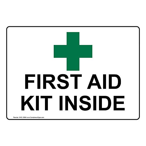 ComplianceSigns Vinyl First Aid Label, 5 x 3.5 in. with English, White 4-pack - First Aid Labels
