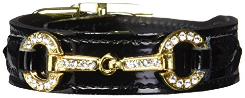 - Hartman & Rose Holiday Crystal Bit Dog Collar, 10 to 12-Inch, Black Patent