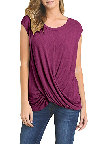 Sleeve Crewneck Shirts Front Twist Knot Tee Tops Casual Basic Blouse (Solid Womens Cap Sleeve T-shirt)