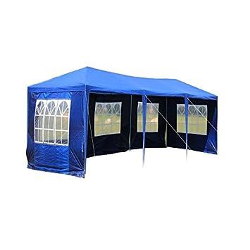 LARS360 3 x 9 m Bleu Tonnelles Pavillon de Jardin Tente de Jardin Tente  réception Pavillon de Tente à bière, bâche imperméable en PE, 5 parois ...