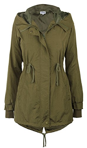 iLoveSIA Women's Military Trench rain Jacket with Hood Jacket Arm Green US 8