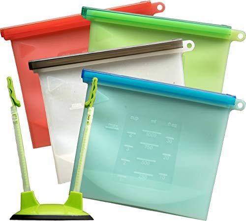 Homevent Silicone Reusable Food Storage Bags & BONUS Bag Rack Holder | Bag for Sandwich, Lunch, Snack, Fruit, Meat, Liquid | Set of 4 x 30oz Bags & Holder ()