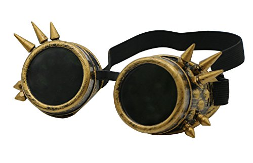 PGCOKO Vintage Spiked Steampunk Goggles Glasses Welding Cyber Punk Gothic Goggles