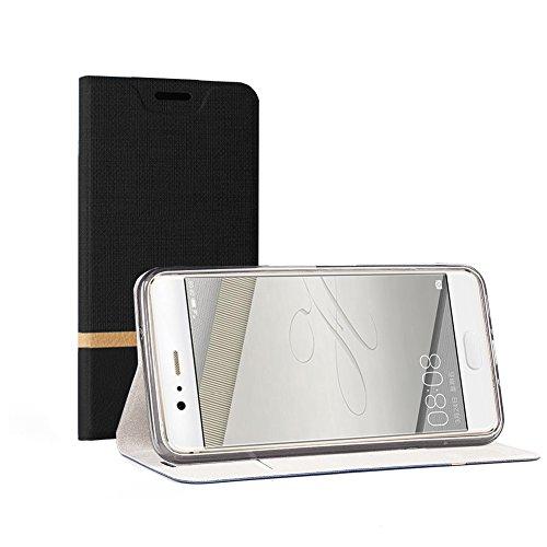 Funda Huawei P10 Plus, SunFay Cartera Carcasa Flip Folio Caja Piel PU Suave Super Delgado Estilo Libro,Soporte Plegable para Huawei P10 Plus - Azul Negro
