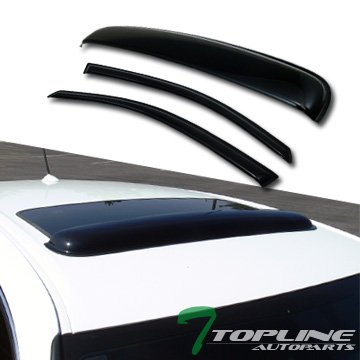 (Topline Autopart Smoke Window Deflector Vent Shade Guard + Sunroof Moonroof Sun Moon Roof Visors 3 Pieces For 00-07 Ford Focus Zx3 3 Door Hatchback)