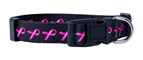 Breast Cancer Awareness Dog - Native Pup Awareness Dog Collars- Autism, Breast Cancer, Support Our Troops and Prostate Cancer (Small, Breast Cancer)