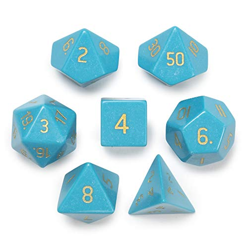 Wiz Dice Set of 7 Handmade Stone 16mm Polyhedral Dice with Velvet Pouch (Turquoise Magnesite)
