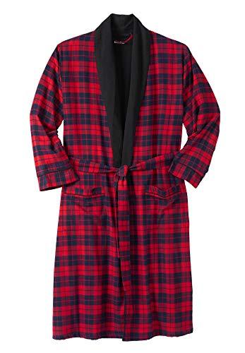 (KingSize Men's Big & Tall Jersey-Lined Flannel Robe, Red Plaid Big-Xl/2X)