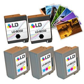LD Canon BC-02 & Canon BC-05 Remanufactured Combo Set - 3 Black Canon BC-02 and 2 Tri-Color Canon BC-05 + Free 20 Pack of LD Brand 4x6 Photo Paper Canon Bc 20 Black Cartridge