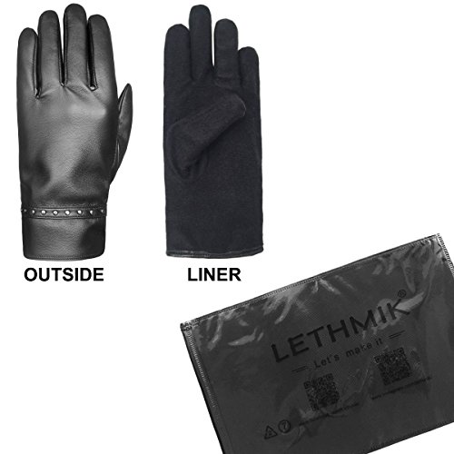 Men/'s Sensitive Touchscreen Gloves Faux Leather and Thermal Fleece Lining HBNY