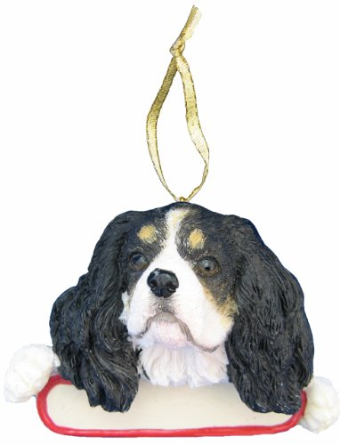 Cavaliers Santa - King Charles Cavalier  Ornament Tri Color