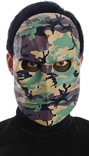 Mario Chiodo Men's Classic Hit The Ice Camo Hockey Theme Party Halloween Costume Mask]()