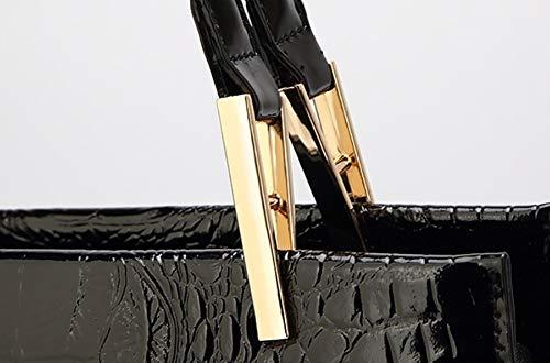 Desmontable Cuero 3d Rosa Pu Crossbody Yyddt Retro Correa Accesorios Ajustable Cocodrilo Bolso Black Impresión Mujer Modelo Bolsa Hombro De AwwFOZq
