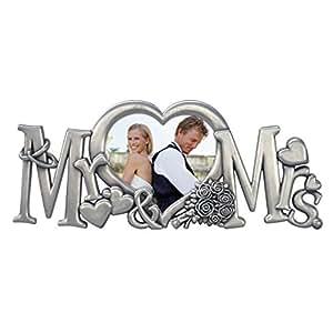 Malden International Designs Mr. & Mrs. Metal Wedding Picture Frame, 3x4, Silver