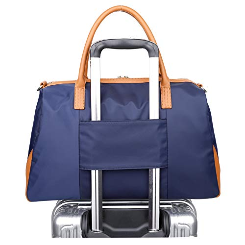 Ulgoo Carry On Tote Bag for Woman Weekend Travel Shoulder Bag in Trolley Handle Deep Blue