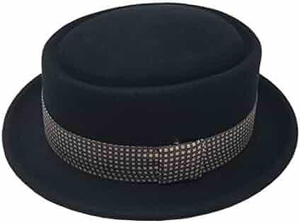 251d996ca5112 Differenttouch Men s 100% Wool Felt 53EH Round Top Pork Pie Short Brim  Upturn Fedora Hats