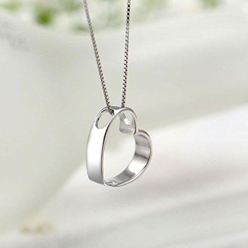 S925 Collar De Plata En Forma De Corazón De Mujer Estudiantes De