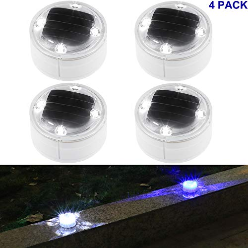 Solar Lights Outdoor 360-degree Solar Ground Lights Deck Path Driveway Pool Fountain Step 4 Pack(White) by SunBonar