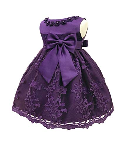 (H.X Baby Girl's Newborn Bowknot Gauze Christening Baptism Dress Infant Flower Girls Wedding Dresses 8 Color (3M/0-5 Months,)