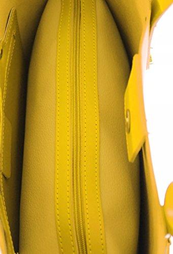 Lisse main véritable Sac Italie en SUPERFLYBAGS XL Model Jaune Fabriqué cuir Consuelo à en qUAWF0