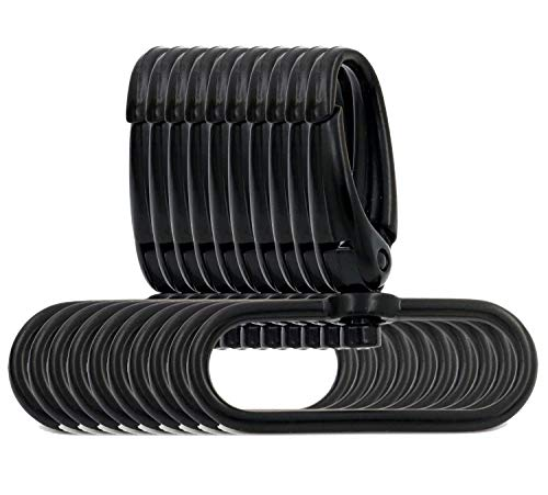BIKICOCO 1-1/2'' Swivel Trigger Push Gate Snap Hook Lobster Claw Clasp Spring Loaded Clip, Oval-Ring Ended, Black, S-Size - Pack of 10