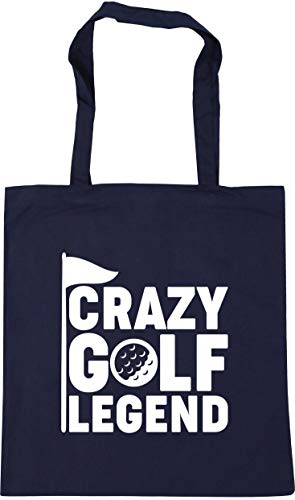 Hippowarehouse Crazy golf legend Tote Shopping Gym Beach Bag 42cm x38cm, 10 litres