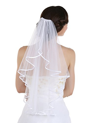 Elegant 1T 1 Tier Ribbon Cascade Waterfall Veil - White Elbow Length -