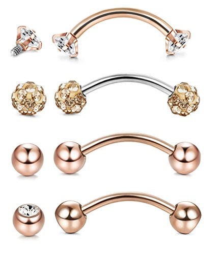JOERICA 4Pcs 16G Stainless Steel Eyebrow Ring Bar Length Curved Barbell Eyebrow Piercing Body Jewelry Rose-gold - Length Curved Barbell