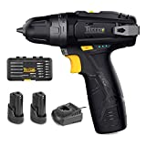 Cordless Drill Driver, TECCPO Compact Drill Lightweight with 2pcs 2.0Ah Batteries, Fast Charger, 265In-lbs Torque, 20+1 Torque Setting, 3/8'' Chuck, 2-Speed, LED Light, 29pcs Accessories - TDCD01P