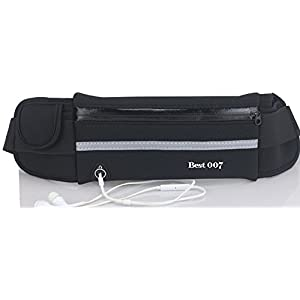 Best 007 Running Belt Waist Pack-Adjustable Water Resistance Belt for Running, Hiking