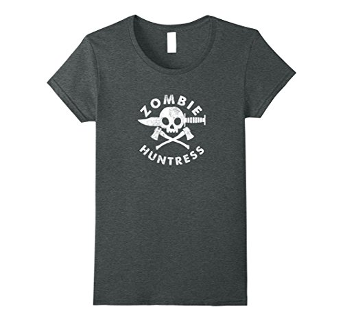 Womens Zombie. Huntress.: Funny hunter of zombies t-shirt Medium Dark Heather