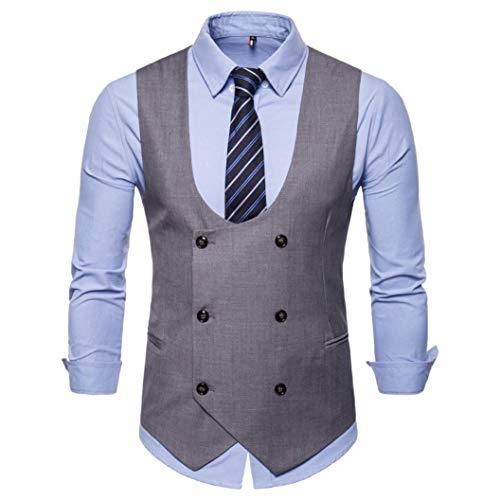 kaifongfu Jacket Top,Button Casual Men Print Sleeveless British Suit Vest Blouse(Gray,XXL)