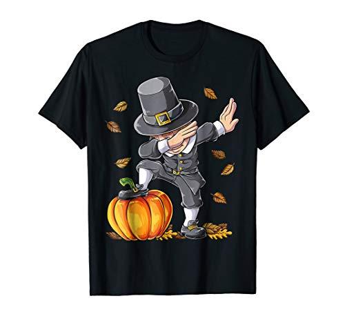 Thanksgiving shirts for Boys Dabbing Pilgrim Kids Pumpkin