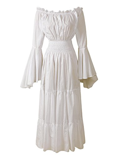 Renaissance Medieval Dress Costume Mythic Mystic Forest Sword Mistress Chemise (Regular, Cream) (Mistress Costumes)