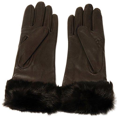 8f1327241 Grandoe Women's NAPLES Sheepskin Butter Soft Leather Gloves Real Rabbit Fur  Cuff, Color Brown, Size M